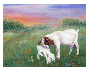 Goat Mother-Kid Cards & Prints from Original Pastel Painting