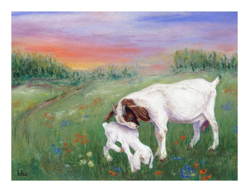 Goat Mother-Kid Cards & Prints from Original Pastel Painting image 0