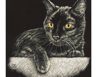 Black Cat Cards and Prints from Original Scratchboard