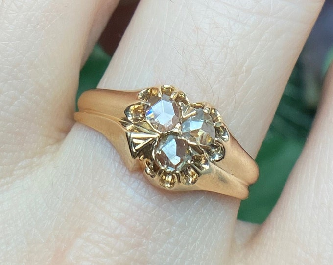Featured listing image: Edwardian Rose Cut Diamond Trefoil Ring