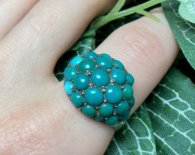 Featured listing image: Large Early Victorian Turquoise Bombe Ring