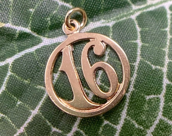 "Featured listing image: Antique ""16"" Number Charm in 14k Gold"