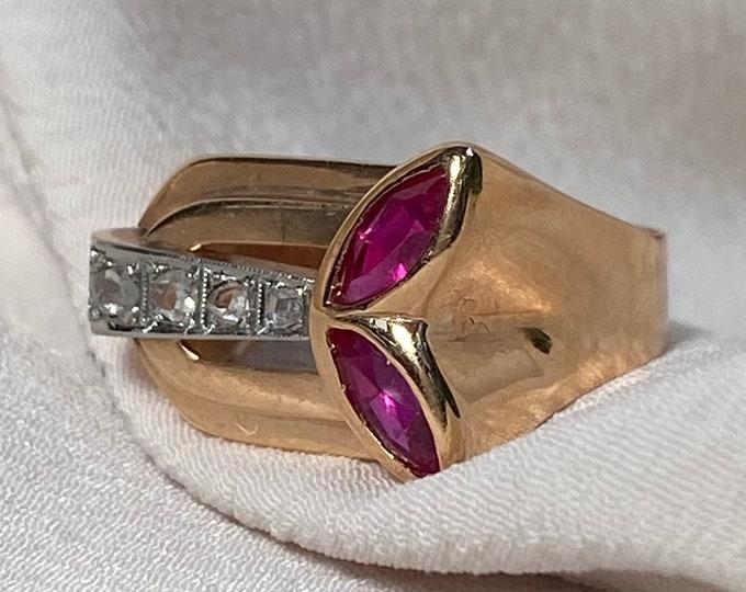 Featured listing image: 18k Retro Rose Cut Diamond Tank Ring