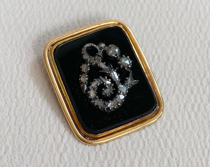 Featured listing image: Antique 14k Rose Cut Onyx Pendant/Pin