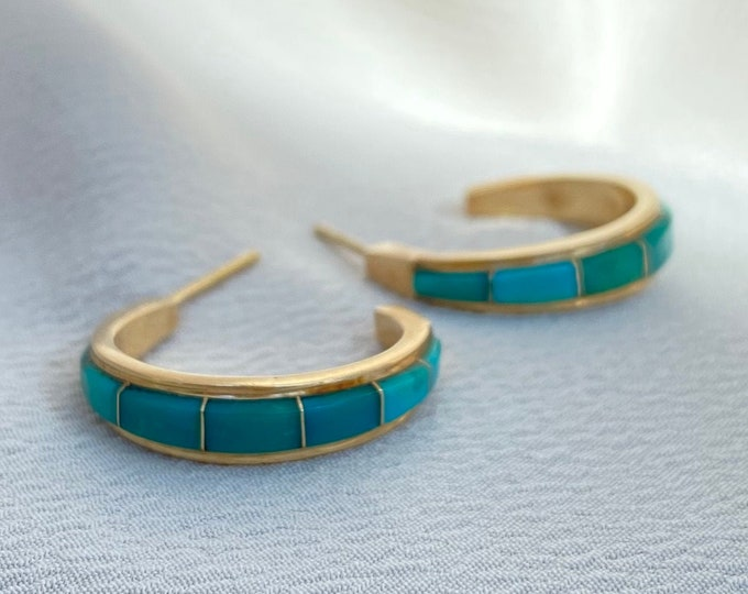 Featured listing image: Vintage 14k Gold Turquoise Inlay Hoop Earrings