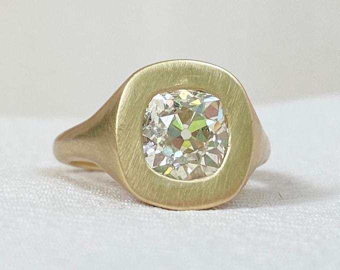 Featured listing image: Custom 2.06 Carat Old Mine Cut Diamond Ring in 14k