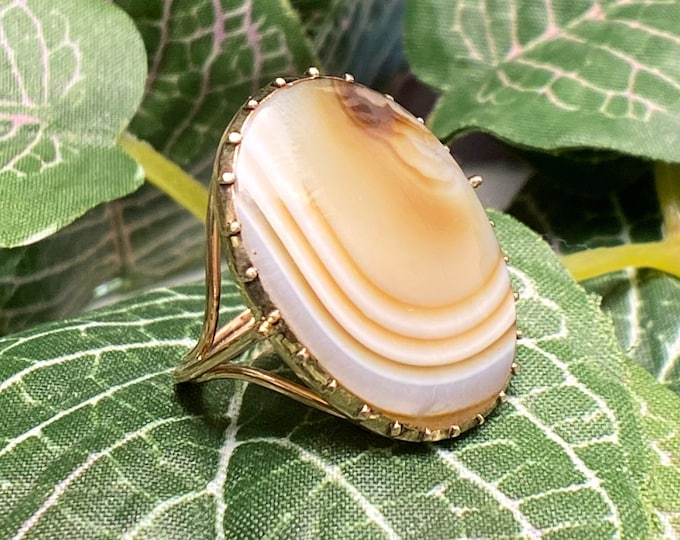 Featured listing image: Large Georgian Agate Ring with 10k Split Shoulders