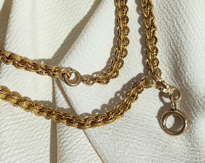 """Featured listing image: Divine 14k 30"""" Antique Victorian Watch Chain with Oversized Clasp"""