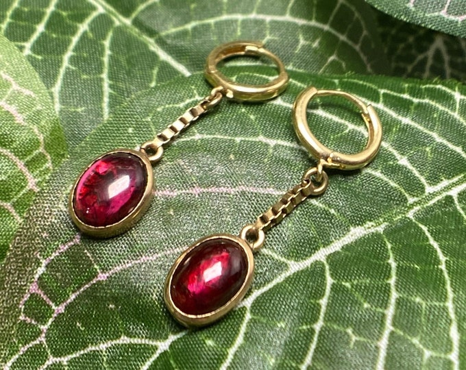 Featured listing image: Juicy Vintage Garnet Dangle Earrings on Huggie Hoops 14k Gold