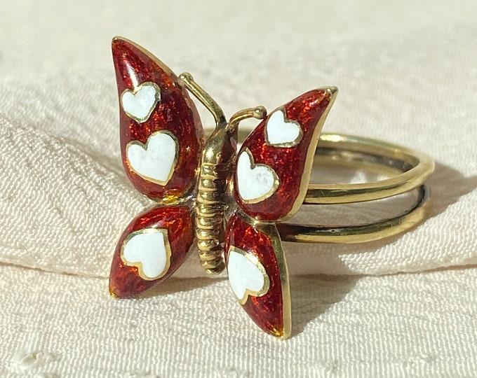 Featured listing image: Vtg 14k Enamel Butterfly Heart Ring