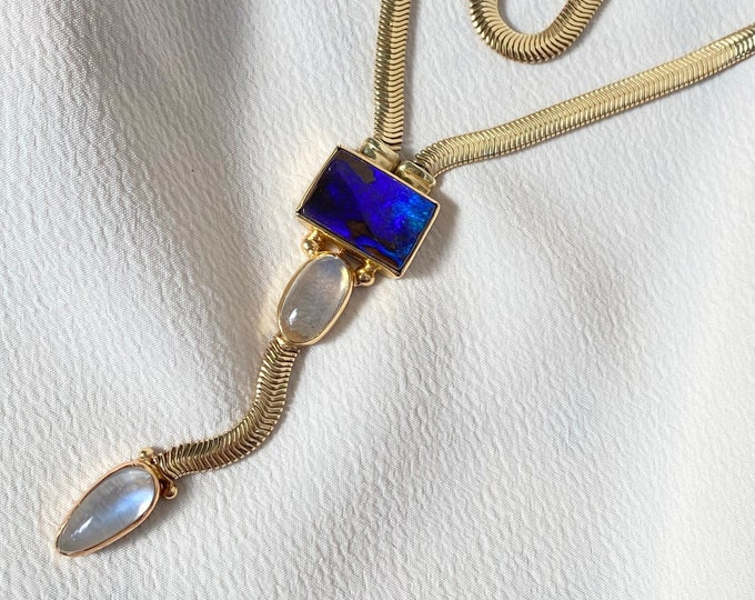 Featured listing image: 14k Moonstone and Opal Snake Chain Lariat Necklace