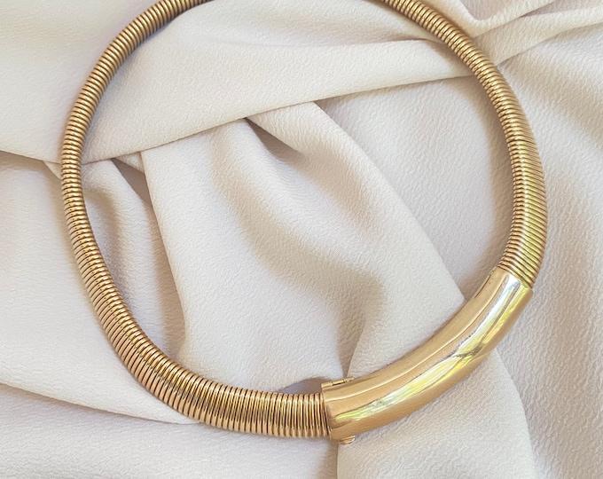 "Featured listing image: Insane Vtg Gaspipe Tubogas Adjustable 16-18"" Collar in 14k Gold"