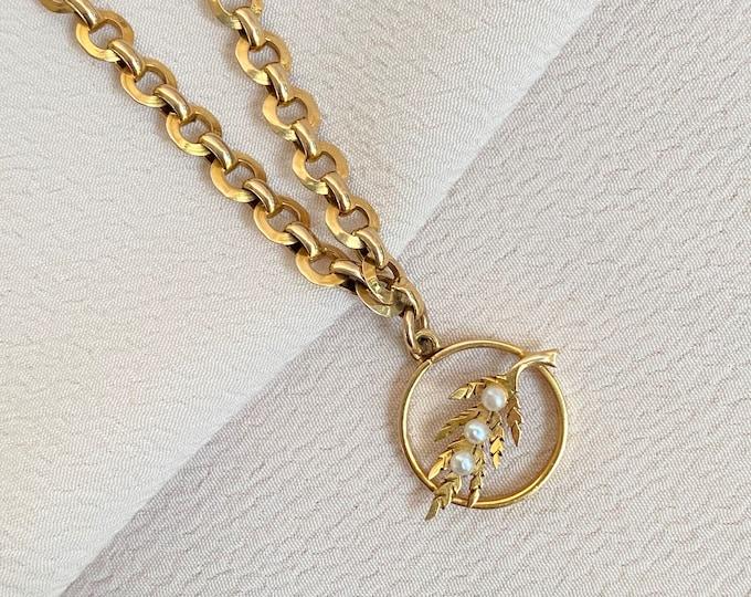 Featured listing image: Antique English 9k Gold Link Bracelet with Pearl Olive Leaf Charm