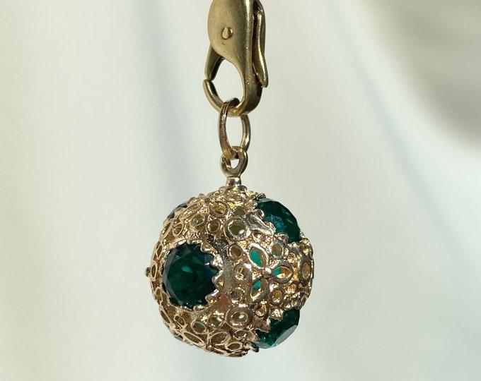 Featured listing image: Atomic Age 14k Gold Green Gemstone Sputnik Orb Charm
