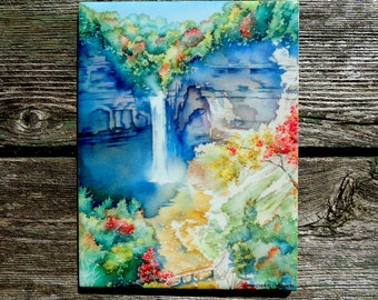 Ithaca NY, Waterfall, Ceramic Tile, Ithaca is Gorges, Taughannock Falls, Finger Lakes, Watercolor by Cheryl Chalmers
