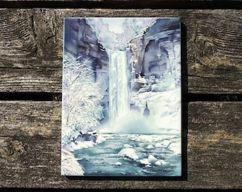 Taughannock Falls, Ceramic Tile, Watercolor, Ithaca NY, Home Decor, Winter, Finger Lakes, Watercolor by Cheryl Chalmers