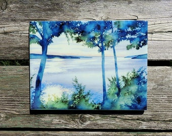 Watercolor landscape Pool Painting Swimmer Wall Art Summer Mother/'s Day Gift Indigo Blue Giclee Art Print 12 x 18 Cheryl Chalmers
