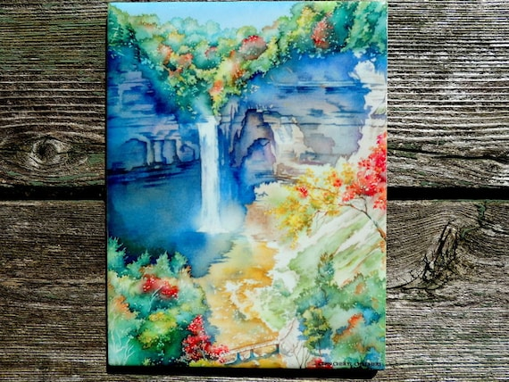 Ithaca is Gorges Taughannock Falls in Winter Ceramic Tile Wall Art Watercolor 6 x 8 Trivet