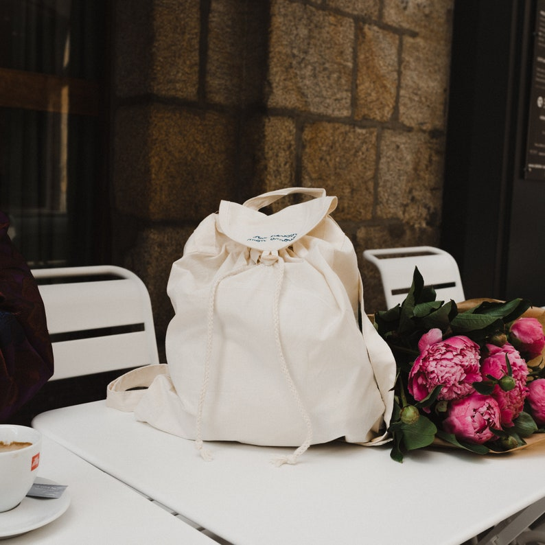 Francis-embroidered and customizable organic cotton bag