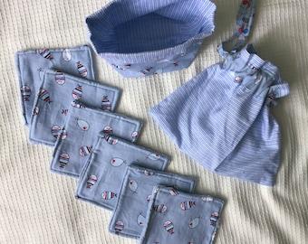 PROMO Lot 6 wipes / / basket / 1 pouch / oeko tek fabric / bamboo blue sponge / gift birth boy