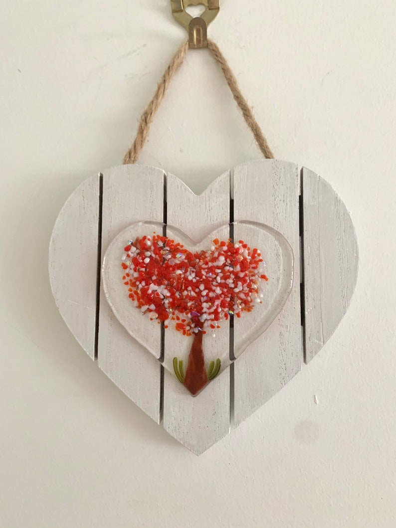 Red white and dichroic love heart tree of life fused glass wall hanging anniversary gift