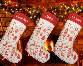 personalised embroidered nordic style lined quality large 50cm christmas stocking - Embroidered Christmas Stocking