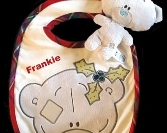 Personalised Embroidered Tatty Teddy Christmas Baby Bib /& Tiny Tatty Teddy New