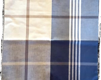 Mens Plaid Pocket Square Navy Grey Beige Checked 5 Contrasting Designs In One Pocket Square 100% Cotton Handkerchief.