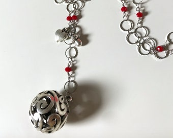 Harmony ball necklace, Angel Caller, Mexican Ball, Mexican bola, ring chain