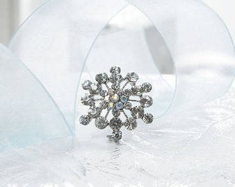 Snowflake Style Diamante Brooch, Winter Wedding Accessory, Birthday Gift, Scarf Clip, Keepsake Gift, Bouquet Decoration