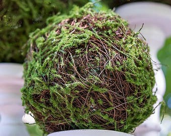 Faux Moss and Wicker Pomander, Kissing Ball, Wedding Venue Decoration
