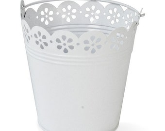 White Pail  Wedding Table Centrepiece Broderie Anglaise Detail