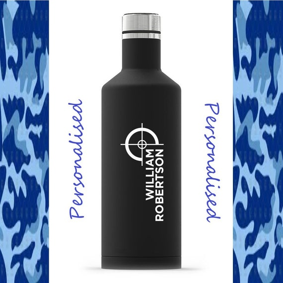 Personalised Custom Initials Name Landscape Double Wall Water Bottle Insulated Stainless Steel Sports Drinks 500ml Variety of Colours
