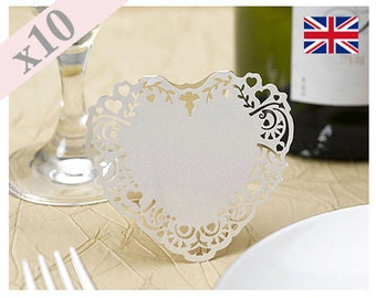10 x Ivory Laser Cut Place Card Vintage Romance Pack Of 10
