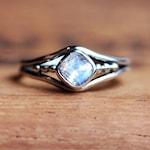 Rainbow moonstone ring, June birthstone ring, cushion cut ring, oxidized silver ring, bezel set ring organic ring, sterling silver, custom