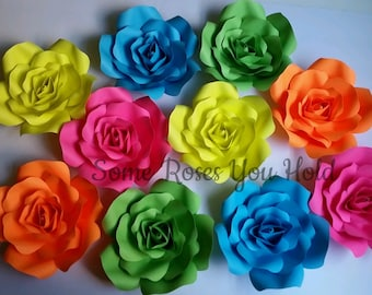 0338603f97849 10pc Neon Paper Flower Backdrop