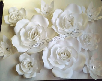 White paper flowers etsy paper flowers paper flower wall decor white paper roses wall backdrop baby shower decorations wedding party nursery wall art mightylinksfo