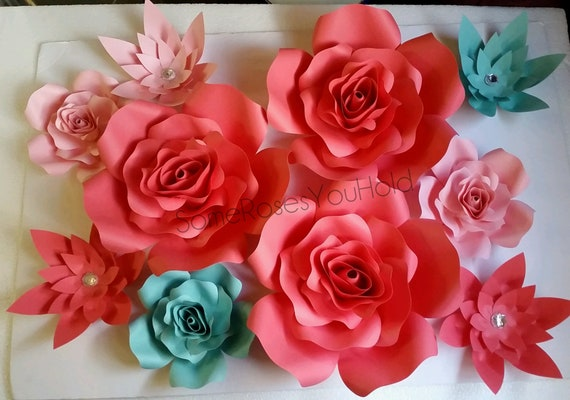 Paper flowers paper flower wall decor coral paper roses etsy image 0 mightylinksfo