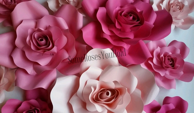 10pc Pink Paper Flowers Wall D\u00e9cor Ombre Paper Roses Nursery Backdrop Mother/'s Day Gift Decoration Ballerina Baby Shower 1st Birthday Party