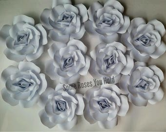 White Paper Flower Backdrop,10pc Paper Roses Set,Paper Flowers Wall Decor,Baby Shower Backdrop,Paper Roses,Party,Wedding,Nursery Wall Art