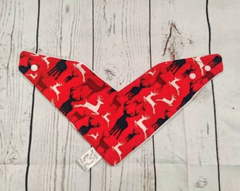 Christmas bib, reindeer bib, red stag bib, Christmas dribble bib, dribble bib, stag fabric, red reindeer bib, holiday  bib, reindeer fabric