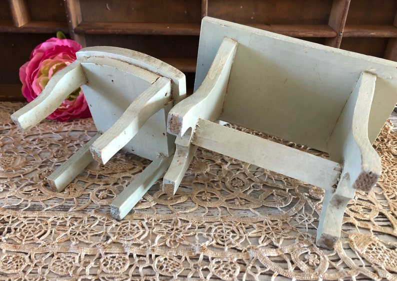 Vintage Wood Dollhouse Chair and Table  Dollhouse Furniture