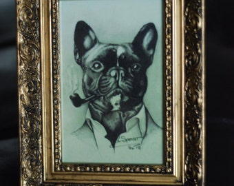 Smoking Boston Terrier Print in Gold Ornate frame