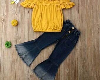 Girls yellow off the shoulder   blue Jean bell bottoms set 09d0cca9a