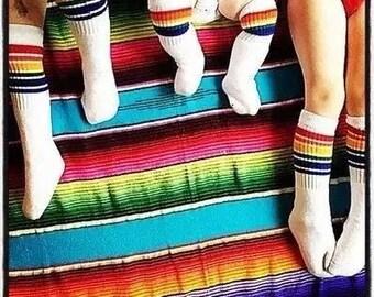 37da28a7b Toddler Rainbow striped high socks black or white