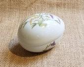 Limoges Egg Trinket Box with Purple Flowers