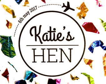 Printable Personalised Hen Party Logo - Custom made digital download - Travel themed branding for your hen do