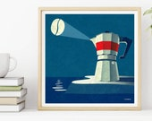 Giclee print Bialetti coffee lighthouse creative illustration for your kitchen. Graphic, art, poster, card for coffee lovers. BY ICONEO