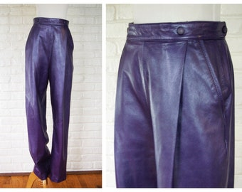 9d9723426c9aa5 Leather Pants 80's or 90's Purple Small