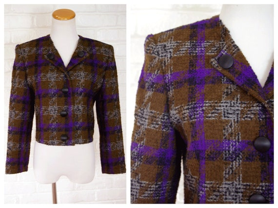 Cropped Slim Blazer Wool 90's Tweed